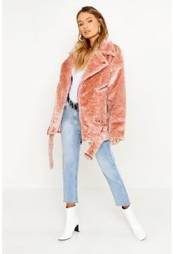 Womens Blush Oversized Textured Faux Fur Aviator
