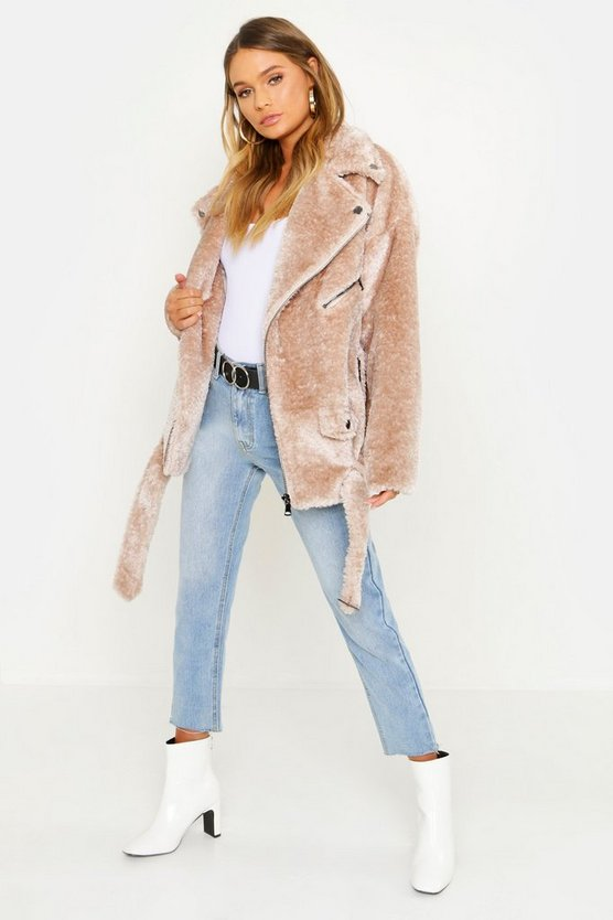 Oversized Textured Faux Fur Aviator