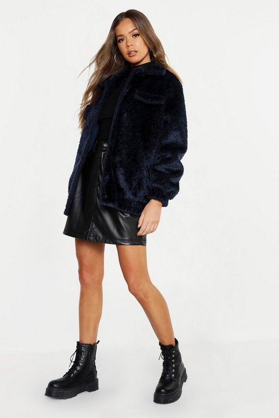 Denim-blue Textured Faux Fur Trucker Jacket