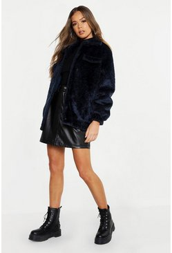 Womens Denim-blue Textured Faux Fur Trucker Jacket