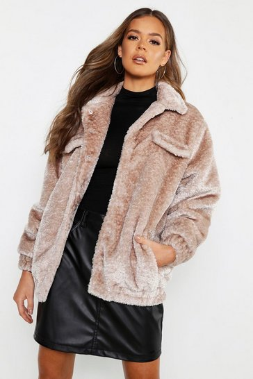 Womens Natural Textured Faux Fur Trucker Jacket