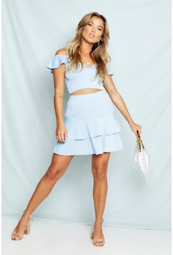 Womens Baby blue Ruffle Detail Skirt