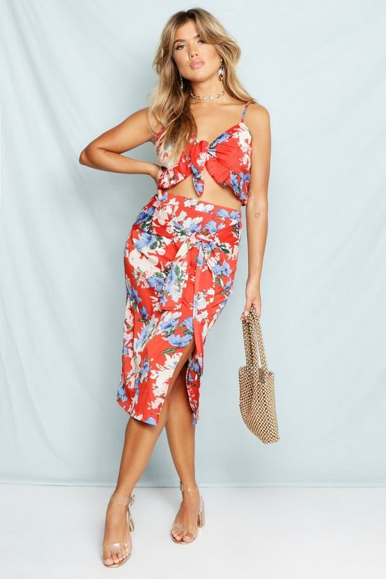 Red Woven Floral Print Wrap Midi Skirt
