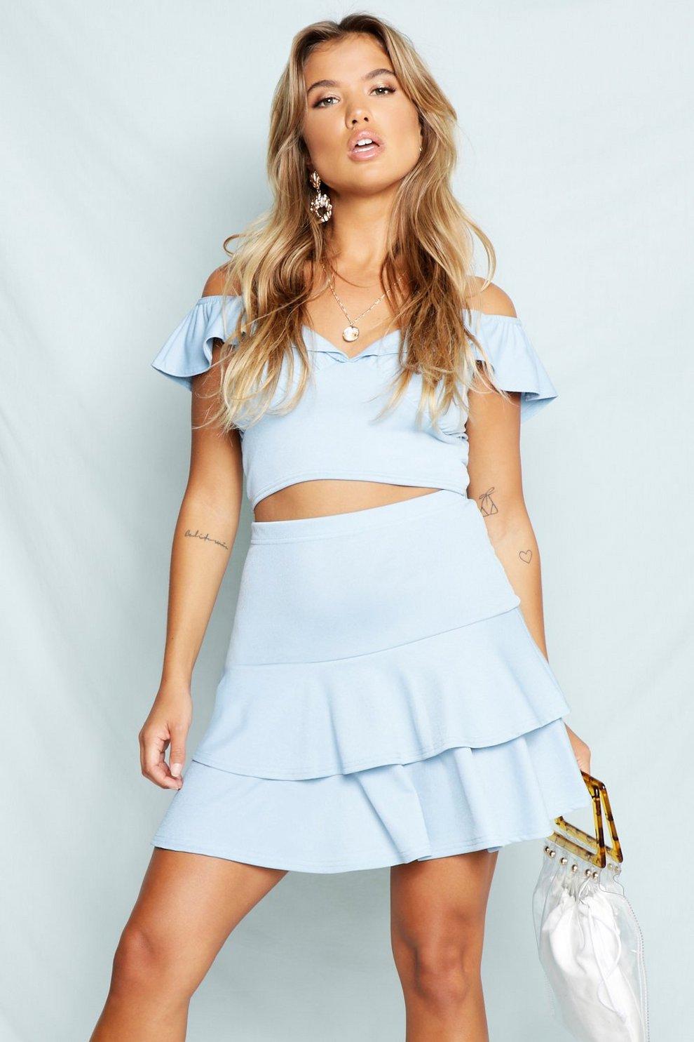 cb9e4033c7 Womens Baby blue Bardot Frill Tie Neck Crop Top