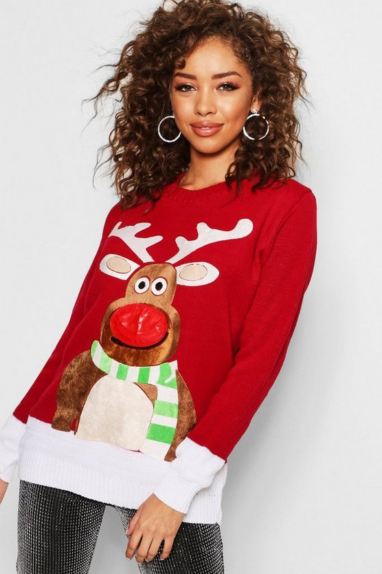 Reindeer Singing Flashing Light Christmas Jumper