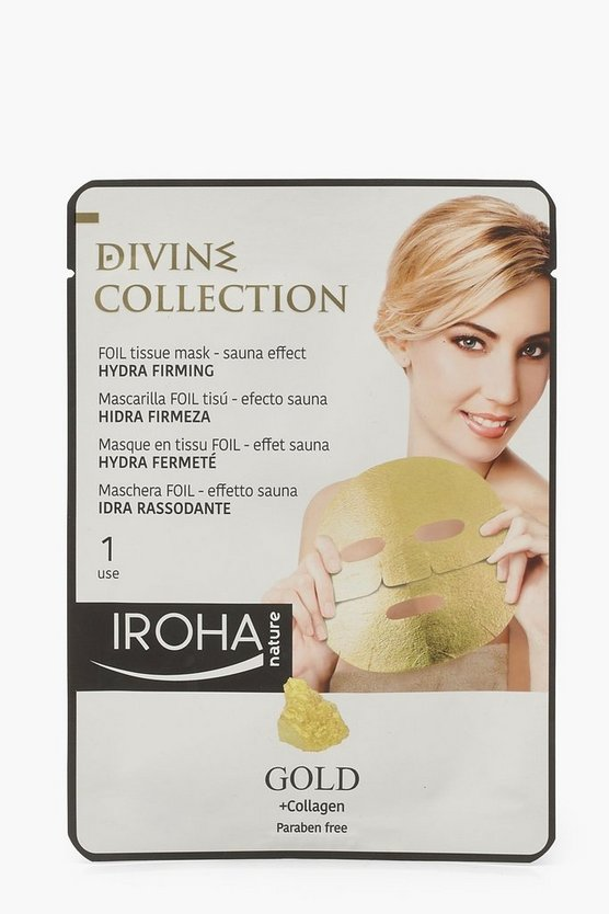 Womens Iroha 24K Gold Firming Foil Sheet Face Mask