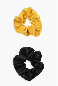 Womens Multi Mustard Satin & Black Scrunchie 2 Pack