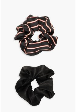 Womens Black Stripe And Plain 2 Pack Scrunchies