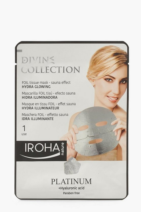 Womens Silver Iroha Platinum Glowing Foil Sheet Face Mask