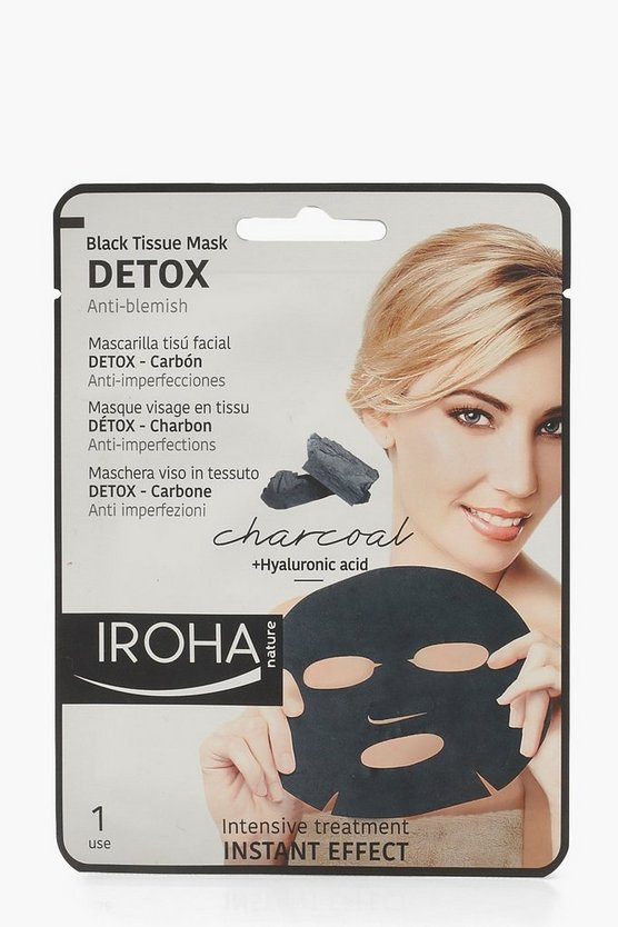Womens Black Iroha Charcoal Detox Tissue Face Mask