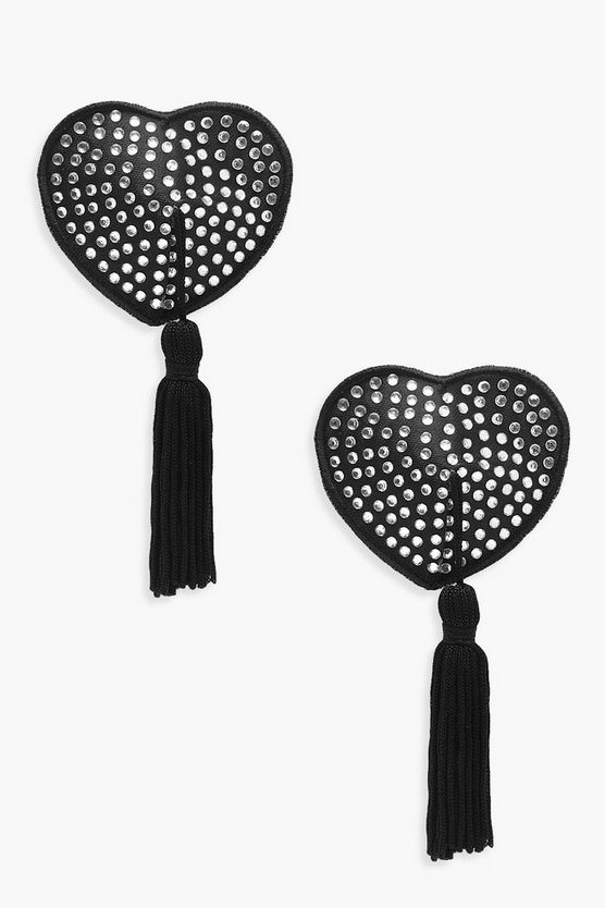 Womens Black Diamante Tassel Love Heart Nipple Covers