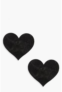Womens Black Lace Heart 3 Pack Nipple Covers