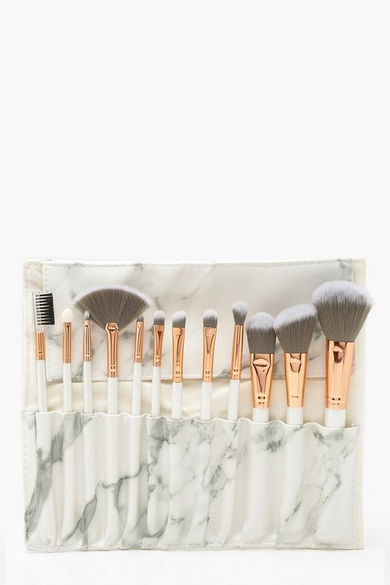 Womens White Marble 12 Piece Brush Set