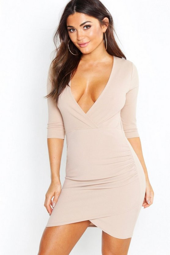 Womens Taupe Plunge Front Wrap Bodycon Dress