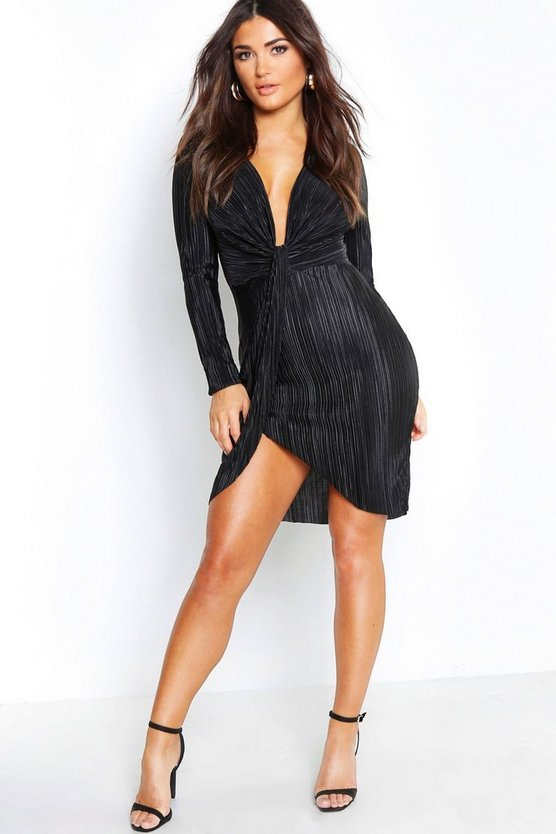 Womens Black Pleated Plunge Knot Front Mini Dress