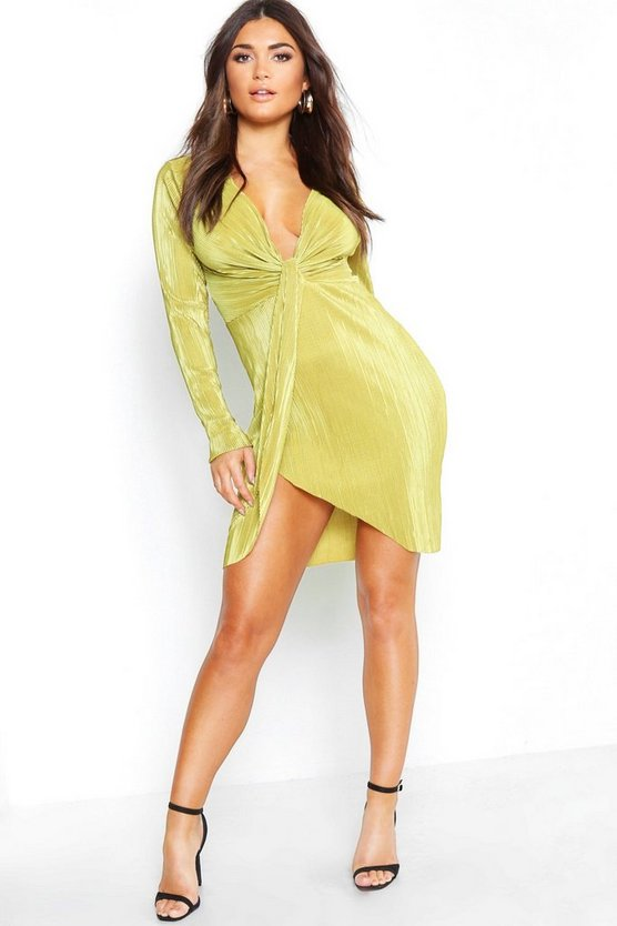 Pleated Plunge Knot Front Mini Dress