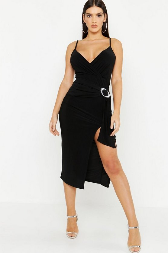 Womens Black Slinky Draped Buckle Midi Dress