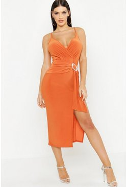 Womens Rust Slinky Draped Buckle Midi Dress