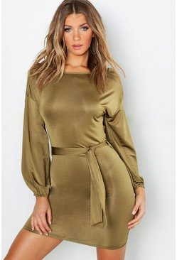 Womens Sage Blouson Sleeve Belted Bodycon Dress