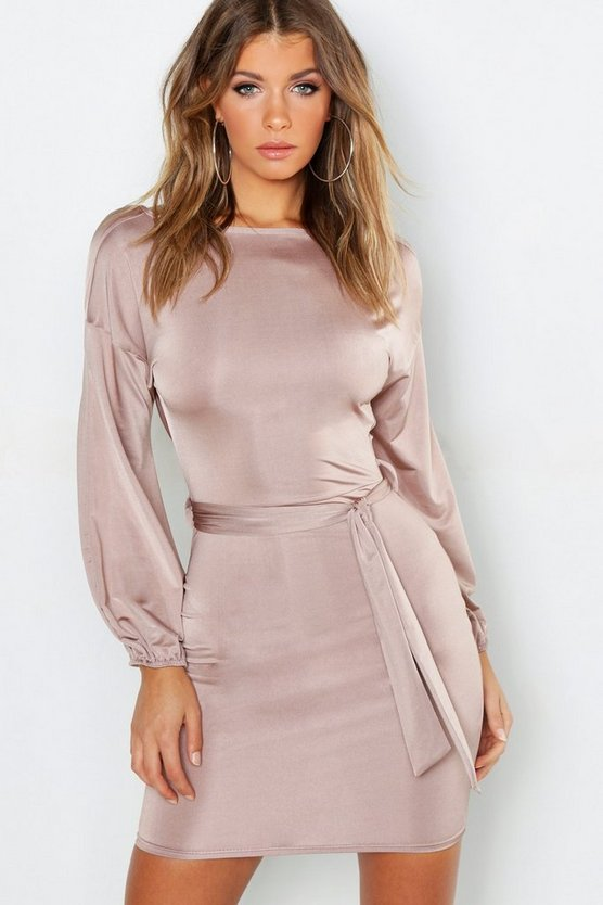 Blouson Sleeve Belted Bodycon Dress