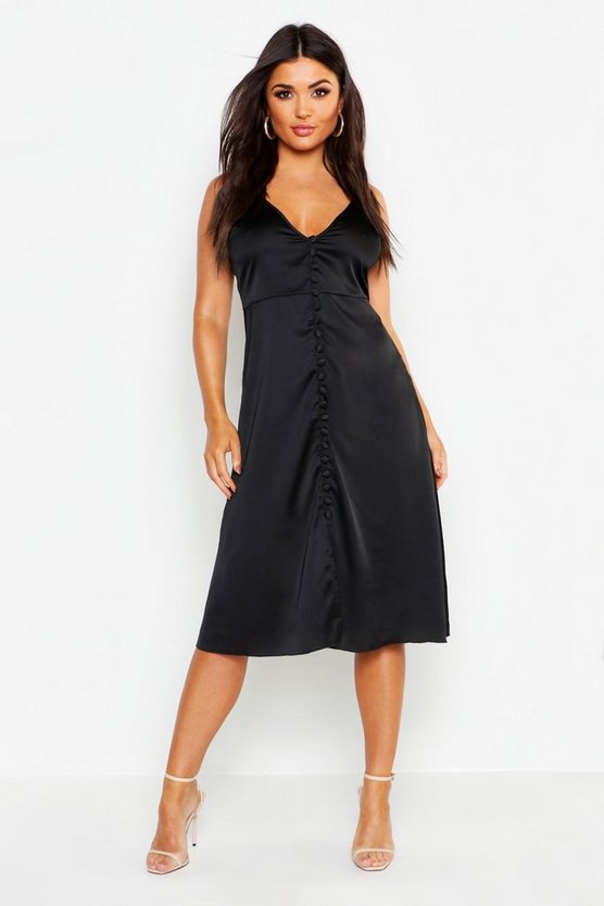 Satin Button Front Midi Slip Dress
