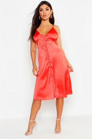 Womens Red Satin Button Front Midi Slip Dress