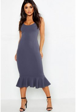 Womens Grey Panelled Flute Hem Midi Dress