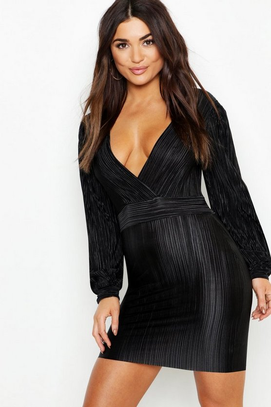 Womens Black Pleated Puff Sleeve Bodycon Dress