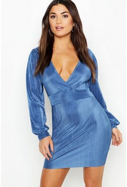 Womens Dusty blue Pleated Puff Sleeve Bodycon Dress