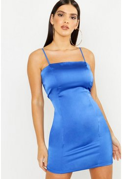 Womens Blue Satin Square Neck Bodycon Dress