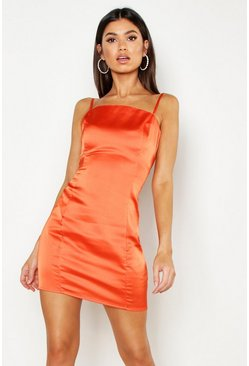 Orange Satin Square Neck Bodycon Dress