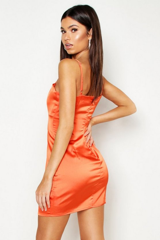 Satin Square Neck Bodycon Dress