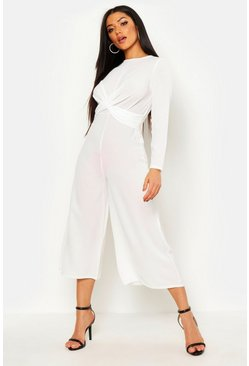 Ivory Knot Front Woven Culotte Jumpsuit