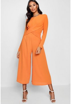 Orange Knot Front Culotte Jumpsuit