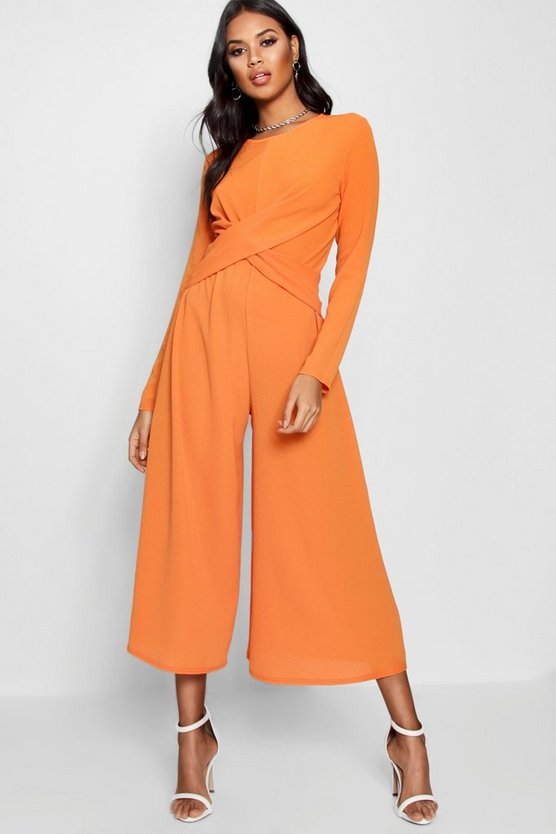 Womens Orange Knot Front Culotte Jumpsuit