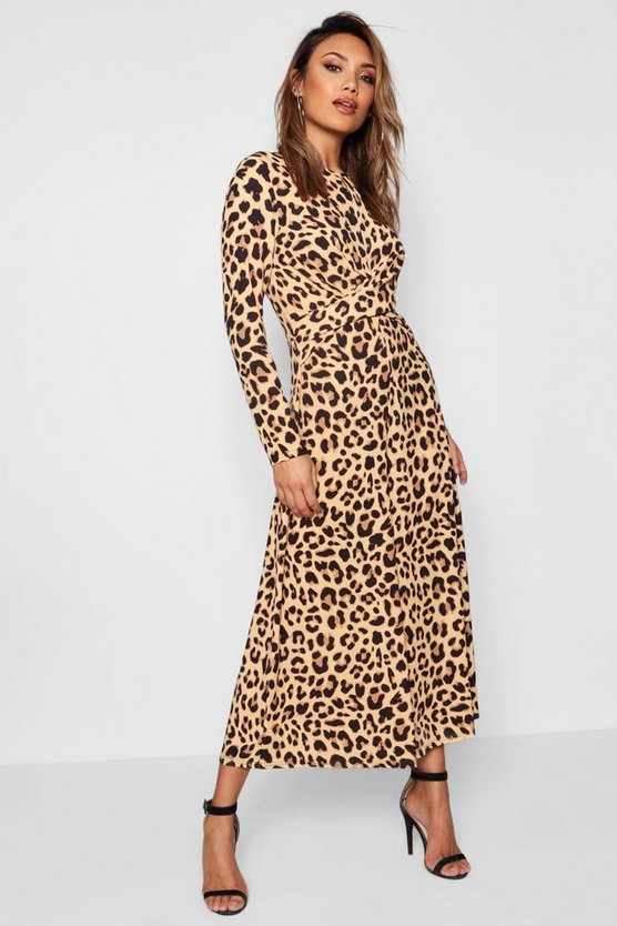 Womens Brown Leopard Print Knot Front Jumpsuit