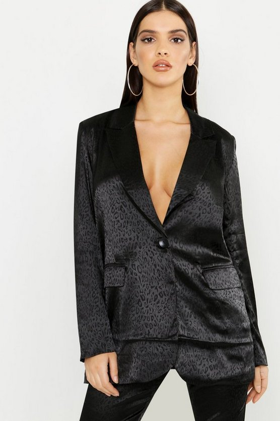 Womens Black Leopard Satin Tailored Blazer