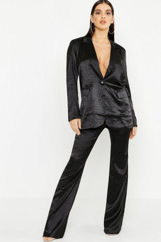 Womens Black Leopard Satin Tailored Pants