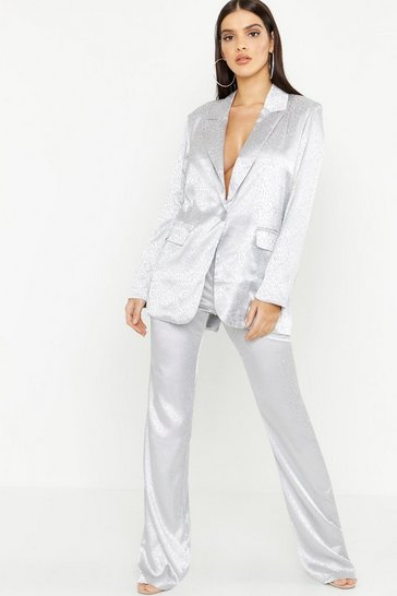 Womens Silver Leopard Satin Tailored Trouser