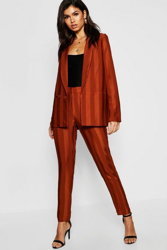 Womens Rust Striped Tailored Blazer