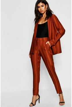 Womens Rust Striped Tailored Pants