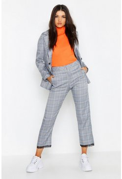Womens Grey Check Trouser