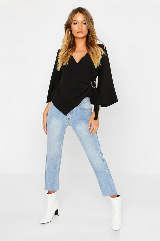 Womens Black Wrap Detail Long Sleeve Blouse