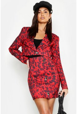 Womens Red Cropped Leopard Jacket
