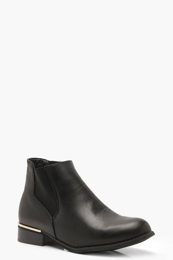 Womens Black Flat Metal Trim Chelsea Boots