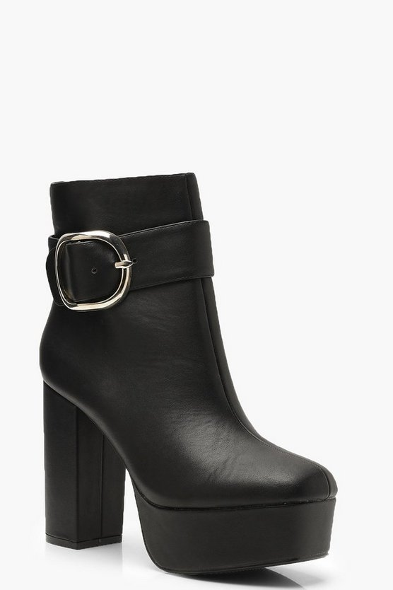 Womens Black Platform Buckle Shoe Boots
