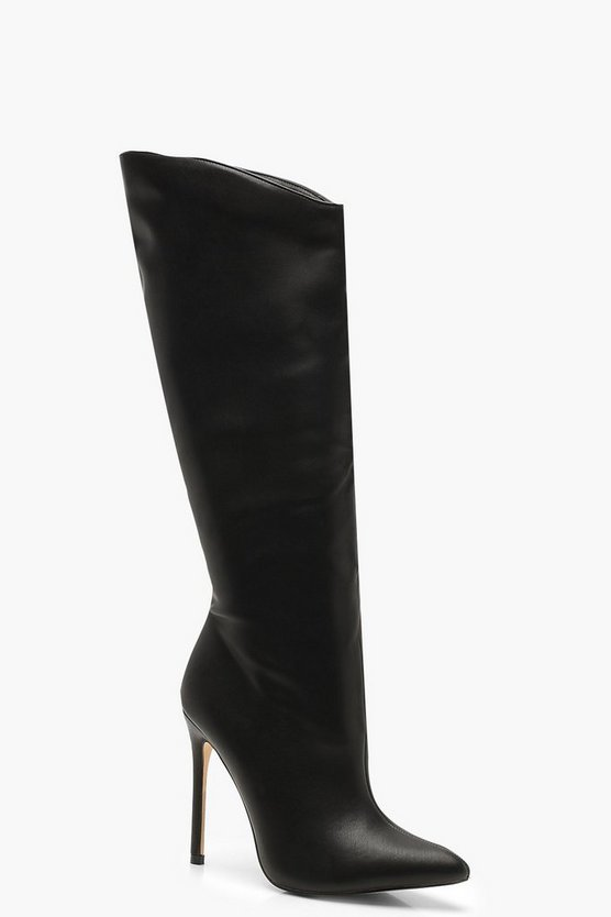 Womens Black Knee High Pointed Stiletto Boots
