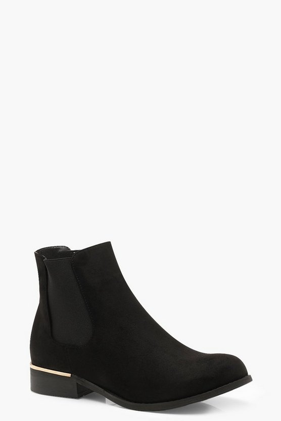 Womens Black Metal Trim Chelsea Boots
