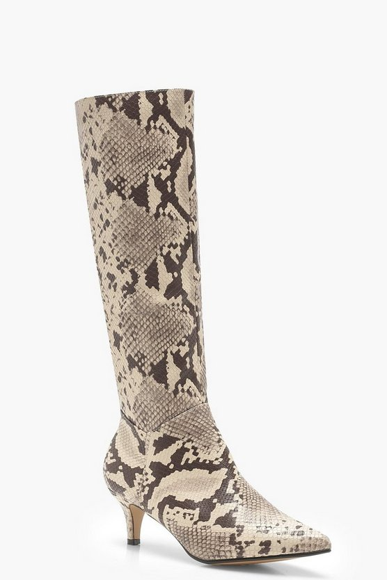 Snake Low Heel Knee Boots
