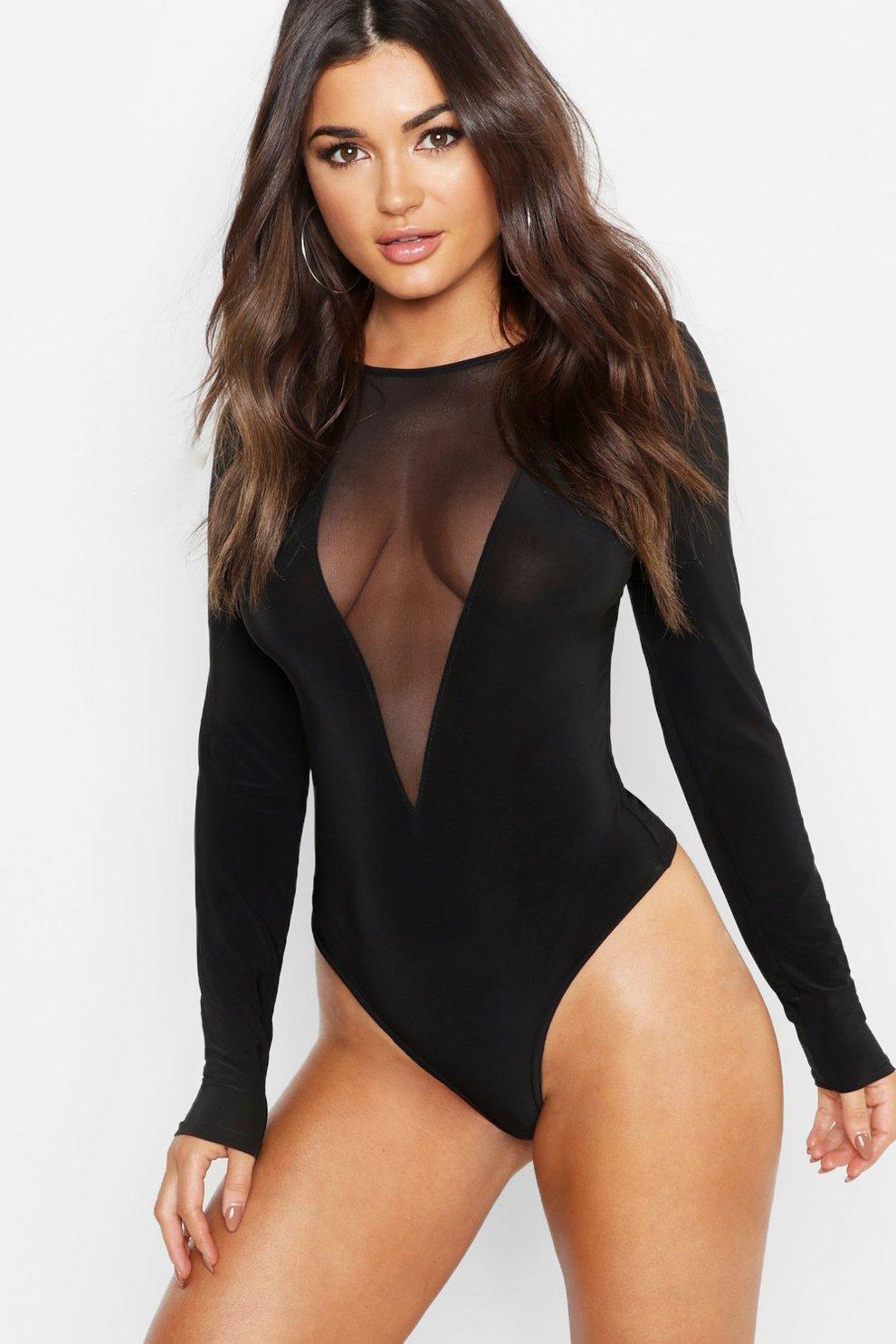 Mesh Insert Plunge Long Sleeve Bodysuit  471105254